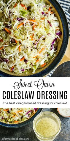 Sweet Onion Coleslaw Dressing from afarmgirlsdabbles… – A simple homemade coleslaw dressing that is bright and tangy with vinegar. A sprinkling of celery seeds adds great flavor and texture. Coleslaw With Vinegar Dressing, Homemade Coleslaw Dressing, Salad Dressing Recipes, Salad Vinegar, Vinegar Slaw Recipe, Oil And Vinegar Coleslaw, Salad Dressings, Cabbage Salad Recipes, Best Vinegar Based Coleslaw Recipe