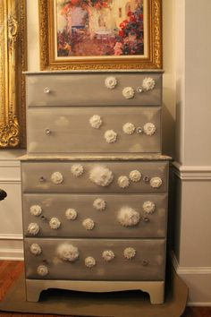 French Provincial meets Vintage Shabby Chic all with a very French look and feel. Vintage tall dresser refinished and painted in Paris Grey