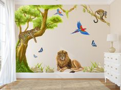 Jungle Wall Decals with large tree jungle animal wall stickers, jungle bedroom decor, jungle decal, jungle decals, jungle mural Jungle Wall Stickers, Wall Stickers Animals, Animal Wall Decals, Nursery Wall Stickers, Nursery Wall Decals, Wall Murals, Nursery Room, Jungle Theme Nursery, Jungle Bedroom