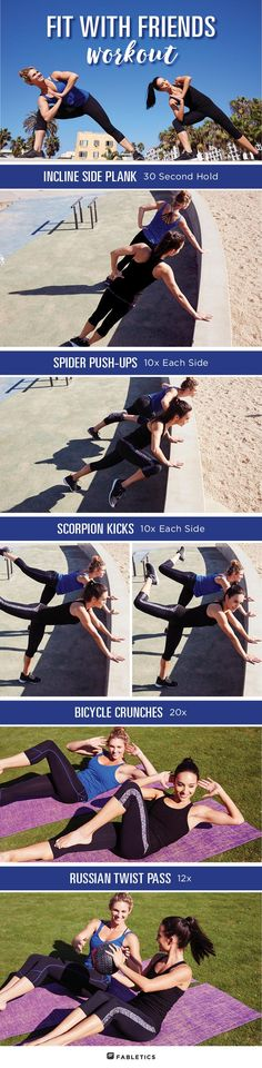 Workouts built for you and a friend. Make your partner routine fun by sharing exercise ideas and incorporating moves that you both enjoy!  Full workout on blog.fabletics.com