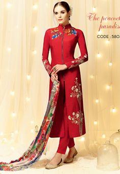 Straight Cut Style Red Designer Wedding Salwar Kammez Churidar Style