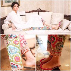 Beautiful Indian colorful Ethnic Pants, Cotton Phulkari Pants (Traditional Punjabi embroidery) - Wool Thread Embroidered Cigarette Pants- Fulkari Pants, here worn with white kameez. - by etsy @ find by makeup & hair, MI Eid Outfits, Pakistani Outfits, Indian Outfits, Work Outfits, Pakistani Couture, Indian Couture, Indian Attire, Indian Wear, Churidar