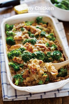 Healthy Recipes Creamy Chicken Quinoa and Broccoli Casserole.light and healthy casserole, low calorie, low fat, healthy, clean eating recipe - This Creamy Chicken Quinoa and Broccoli Casserole is made from scratch with healthy ingredients. Quinoa Broccoli, Broccoli Chicken, Broccoli Bake, Thai Chicken, Grilled Chicken, Chicken Broccoli Casserole Healthy, Chicken Quinoa Recipes, Sriracha Chicken, Fresh Broccoli