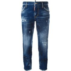 dsquared2 Boyfriend Jeans ($380) ❤ liked on Polyvore featuring jeans, navy, bleached ripped jeans, destroyed jeans, torn boyfriend jeans, blue jeans and distressed jeans