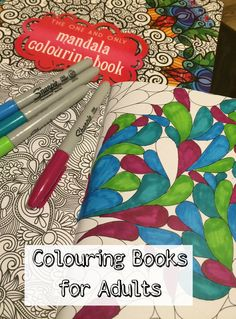 Colouring books for adults. Colouring designs with sharpies or nice pencil crayons is so relaxing!