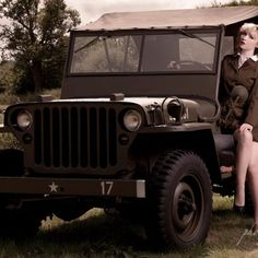 Here is a styled vintage image of a Willys Jeep and a Beautiful Pin Up model wearing an Army uniform in the driving seat. Approximate sizes Mount H x W Image H x W Model:- Rosie Lea Army Uniform, Pin Up Models, Limited Edition Prints, Vintage Images, Ww2, Jeep, Antique Cars, Photography, Style