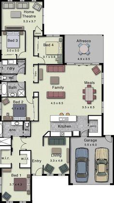 Dakota 302 - Home Design Remove the back living area House Layout Plans, Family House Plans, Dream House Plans, House Layouts, House Floor Plans, My Dream Home, Hotondo Homes, Plan Ville, Home Design Floor Plans