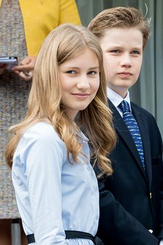 Crown Princess Elisabeth and her brother Prince Gabriel of Belgium attends the 80th birthday celebrations of Belgian Queen Paola on June 29, 2017 in Waterloo, Belgium.