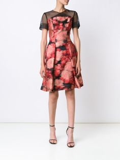 Carolina Herrera sheer panel jacquard dress