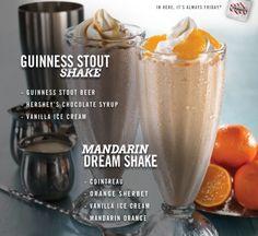 Friday's® Guinness Stout Shake and Mandarin Dream Shake – dessert for big kids.