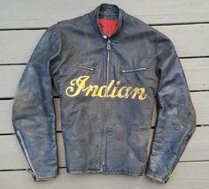 Indian flat track jacket Vintage Leather Jacket, Biker Leather, Leather Jackets, Leather Men, Cuir Vintage, Vintage Coat, Aachen Germany, Riders Jacket, Motorcycle Jackets