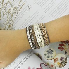 Victoria Emerson Boho Bracelet. White Gold Engraved Logo Magnetic Clasp. - Genuine White gold plating clasp - Crystal Beads with Chain Wrap - Turquoise Beads - Coins - Crystal chain on Wool - Agate be