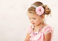 Pink Satin & Tulle Flower Puff w/ Gray Pearl Stretchy Silvery Gray Lace Headband or Hair Clip, Wedding, Baby Toddler Child Girls Headband by TheFairyFactoryShop on Etsy https://www.etsy.com/listing/125091703/pink-satin-tulle-flower-puff-w-gray