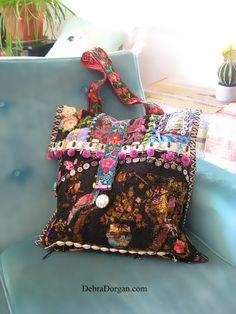 Hummingbird Bag Black Bag Antique Tapestry by AllThingsPretty