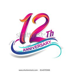 12th anniversary celebration logotype blue and red colored. twelve years birthday logo on white background.