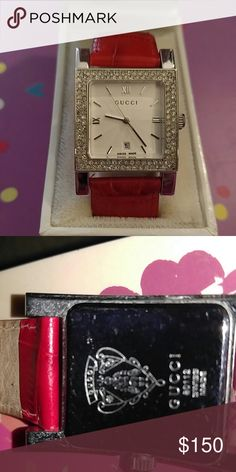 Women's watch Never used Genuine red leather Gucci watch with cubic zirconia accents needs battery. Was given to me as a gift. Price is firm Gucci Jewelry