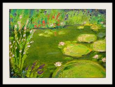 Flower Dance Original Landscape Oil Painting on Canvas Panel Italy Ischia Pond Water lilies with Gold Powder Free Shipping