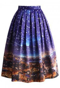 Holy Snowy Night Printed Midi Skirt - CHICWISH SKIRT COLLECTION