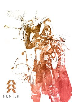 Destiny Hunter Guardian Watercolor print/poster wall by SquidFold