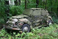 #RockArt -- Car made out of #Rocks.  #Garden