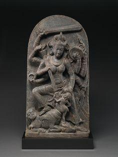 Durga slaying Mahisha (Mahishamardini) is here represented in her multi-armed form, manifesting her supreme power as the dispeller of evil, personified in the buffalo demon (asura) Mahisha, seen slumped at her feet Indian Gods, Indian Art, Lausanne, Tibet, Durga Kali, Asian Sculptures, Buddha Life, Kali Goddess, Digital Art Fantasy