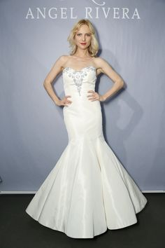 Satin Angel Rivera bridal gown with pleated mermaid skirt and gorgeous embroidered detail at neckline {photo: Dan Lecca}