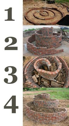 This is an herb spiral, in which you plant drought hardy plants at the top and water-thirsty plants at the bottom. #herbgardening
