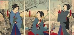Tsukioka Yoshitoshi TitleSpring: View of the plums on the first day of spring at Hara Village in the Ebara District