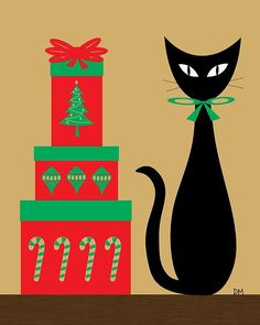 Christmas Cats Art - Holiday Cat 2 on Cream by Donna Mibus Christmas Tree Scent, Cat Christmas Cards, Noel Christmas, Retro Christmas, Xmas Cards, Christmas Crafts, Christmas Kitty, Christmas Greetings, Christmas Presents