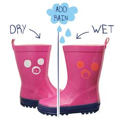 983176afbc This is a fun pair of Pink colour changing wellington boots with a bright  Turquoise and