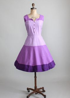 Vintage 1950s Purple Color Block Summer Dress