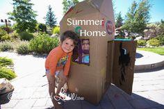 cardboard box house kids crafts summer projects