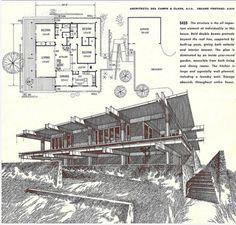 Modern Floor Plans, Contemporary House Plans, Modern House Plans, Small House Plans, Vintage House Plans, Architecture Plan, Vintage Architecture, Garden Buildings, Cabin Plans