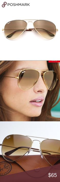 Ray-Ban Aviator Gold Brown Gradient RB3025 001/51 Ray-Ban Aviator Gradient sunglasses encompass the teardrop shape that started it all. Originally designed for U.S. aviators, the Aviator Sunglasses design has become an icon. The gradient lenses are nicely toned and give a cool effect to what is considered the sunglass that shaped entire cult movements. Wear RB3025 Aviator Gradient sunglasses with a gunmetal frame and lens treatments including crystal Polarized Sunglasses blue gradient,...