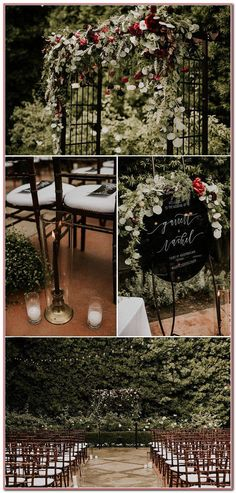 Glam Franciscan Gardens Wedding Takes 'Til Death Do Us Part to the Next Level We love all the overgrown greenery and red floral accents at this elegant garden wedding ceremony Wedding Ceremony Ideas, Church Wedding Decorations, Wedding Tips, Wedding Favors, Red Wedding, Elegant Wedding, Fall Wedding, Wedding Flowers, Romantic Weddings