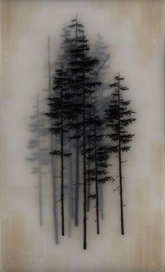 Brooks Salzwedel es un artista norteamericano autor de estas originales obras realizadas con carbón, algún tipo de hoja traslucida y resina. Con ellas logra mostrar unos paisajes irreales, con profundidad, y con profusión de árboles que, en ocasiones, mezcla con elementos de tecnología humana.