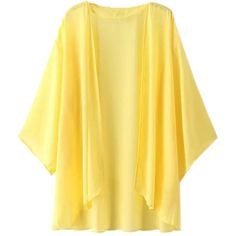 Escalier Women's Yellow Light Loose Chiffon Sheer Kimono Cardigan... (15 CAD) ❤ liked on Polyvore featuring tops, chiffon kimono top, loose kimono, transparent tops, chiffon top and chiffon kimono