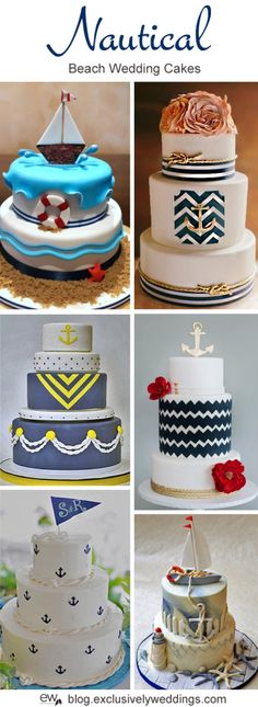 Nautical Wedding Cakes - Read more http://blog.exclusivelyweddings.com/2014/04/28/five-perfect-designs-for-your-beach-wedding-cake/