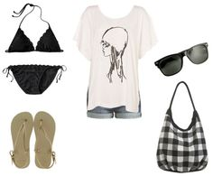 This outfit keeps it simple in the best possible way. A loose white tee and shorts combine for the ultimate summer uniform, while a basic black bikini is universally flattering. Dark faux Wayfarers (or real ones if you have the cash) are just as classic. I love the addition of some metallic Havaianas sandals and a buffalo plaid bag for a little extra interest that still keeps it simple.