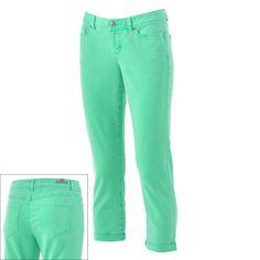 LC Lauren Conrad Roll-Cuff Color Denim Capris. I want mint capris!!