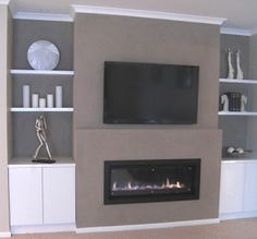 tv over stone fireplace - Google Search