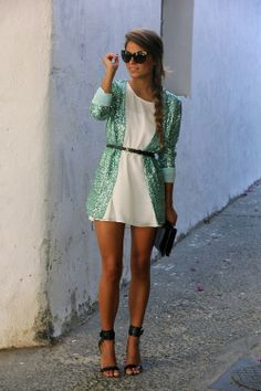 green sequinned blazer, short white chiffon dress and black open-toed heels to top of this perfect late summer night look