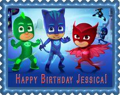 PJ MASKS Edible Birthday Cake Topper OR Cupcake Topper, Decor