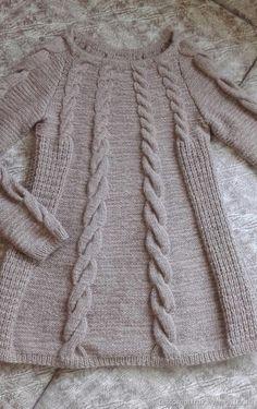 Купить или заказать Пуловер с Косами в интернет магазине на Ярмарке Мастеров. С доставкой по России и СНГ. Срок изготовления: 14 дней. Материалы: Мериносовая шерсть, меринос…. Размер: любой Knitting Designs, Knitting Patterns, Grey Sweater, Tunic, Pullover, Crochet, Outfits, Fashion, Scarf Styles