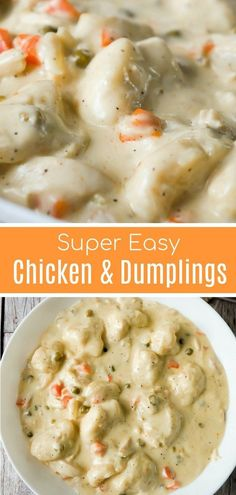 comfort food Easy Chicken and Dumplings with Biscuits is a simple weeknight dinner recipe using rotisserie chicken and Pillsbury refrigerated biscuits. These creamy chicken and dumplings are a hearty comfort food dish perfect for cold weather. Healthy Recipes, Soup Recipes, Healthy Meals, Easy Meals, Easy Weeknight Dinners, Easy Recipes, Dinner Healthy, Simple Easy Dinner Recipes, Easy Comfort Food Recipes