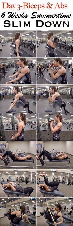 6 Weeks Summertime Slim Down: Day 4-Biceps & Abs. #fitness