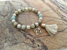 Faith, Hope, Love Beaded Tassel Bracelet