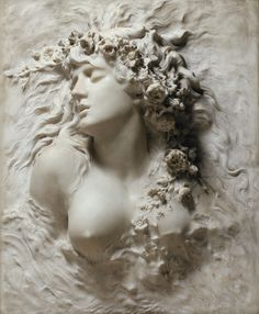 """""""Celebrated as one of the greatest actresses of all time, Sarah Bernhardt was also recognised for her talent in the medium of sculpture."""" 【Ophelia】marble by Sarah Bernhardt (French actress, writer, painter and sculptor Art Amour, 3d Prints, Rodin, Photo Wallpaper, 3d Wallpaper, Custom Wallpaper, Krishna, Art History, Wall Murals"""