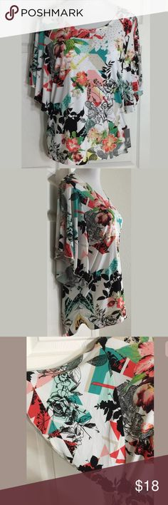 """JM Collection Floral•Embellished•Flutter Blouse Beautiful """"Modern Toile"""" flutter sleeve blouse. Has ruched sides. Bust: 42""""; Length in the back from the shoulder: 26"""". 95% Polyester, 5% Spandex. Machine washable. Smoke free home. 🌺Thanks for shopping my closet !🌹 JM Collection Tops Blouses"""