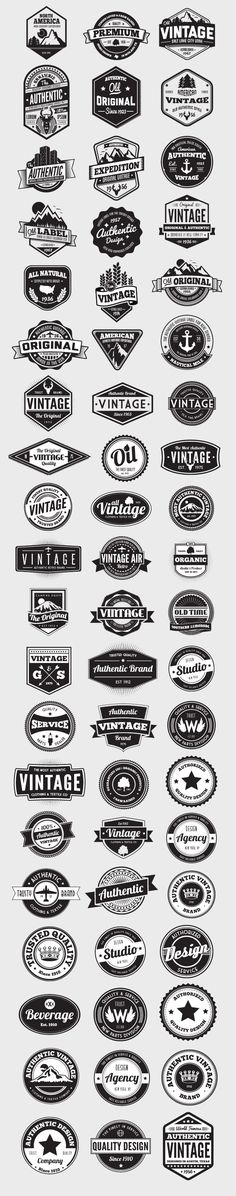 Vintage Graphic Design Having a good selection of vectors on hand is essential for any designer. This ultimate collection of 60 vector badges and logos is an incredible assortment of vintage styled elements. Each graphic. Graphisches Design, Badge Design, Design Elements, Shape Design, Food Design, Inspiration Logo Design, Schrift Design, Logo Branding, Branding Design